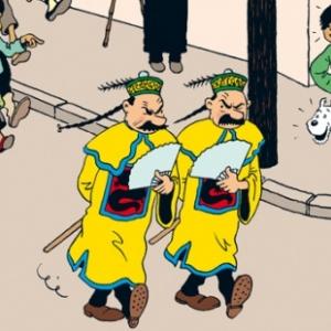 Les limiers du Parquet: Dupond et Dupont, reconnus par Tintin, Milou et Tchang.