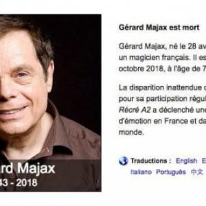 """""""Gerard Majax est dcd le 17 octobre 2018. Ce que nous avons pu vous mettre en ligne le 16""""."""