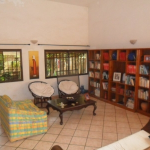 La salon wifi, avce la bibliotheque sur la cuisine italienne