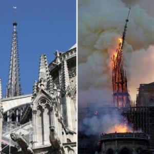 Notre-Dame de Paris. Chute de la flèche.