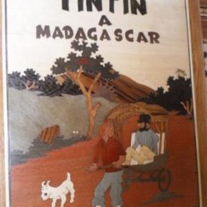 """Une couverture d'un faux """"Tintin a Madagascar"""", avec le capitaine en poussepousse"""