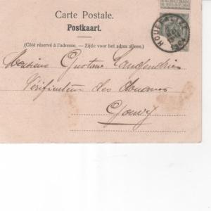 1904. Destinataire Gouvy. Cachet de la poste: Houffalize. Remarquer: timbre a 1 c.: ne pas distribuer le dimanche. Rien au recto.