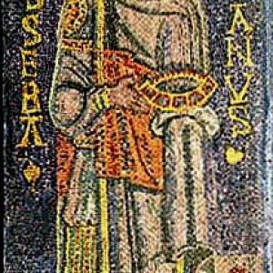 Haut Moyen-Age: le saint est au paradis, aureole, barbu, avec ses attributs. Glorieux, en rude militaire (mosaique)