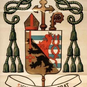 Les armoiries de Mgr Cawet (Lion, noir: province de Namur; lion, rouge: province de Luxembourg)