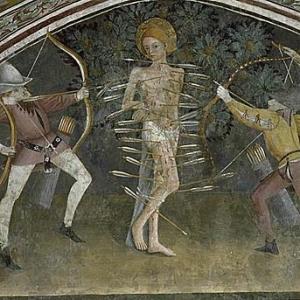 "Autre saint Sebastien ""herisson"" antipesteux"". Prefigure ""l'anti-sida""."