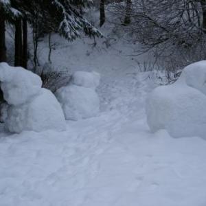 Avant de franchir le pont, en descendant de Bonnerue (les bonshommes sont de neige... fraiche)