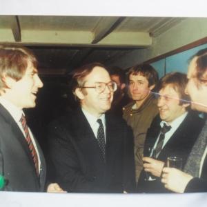 Guy Lutgen, le Premier ministre Wilfried Martens et trois Houffalois: Gérard Otto, Alphonse Henrard, et René Dislaire (années 90)