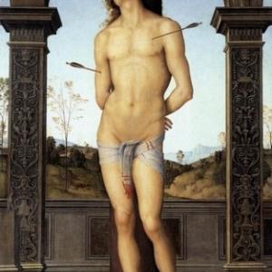Renaissance: Sebastien presque nu, dont l'etoffe cache-sexe accentue la virilite.