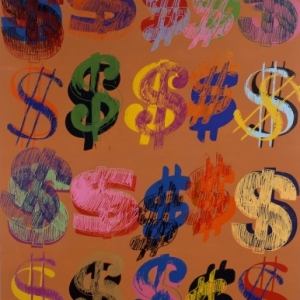 Dollar sign, 1981,Acryl op zeeffdruk op textielCollection of The Andy Warhol Museum, Pittsburgh, © The Andy Warhol Foundation for the Visual Arts, Inc. / SABAM Belgium 2013
