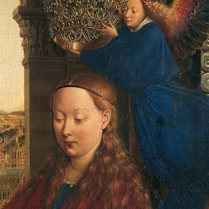 Jan van Eyck, Detail from The Virgin of Chancellor Rolin, c. 1430-34, Musée du Louvre. Foto: KIK-IRPA, Brussels. From http://closertovaneyck.kikirpa.be.