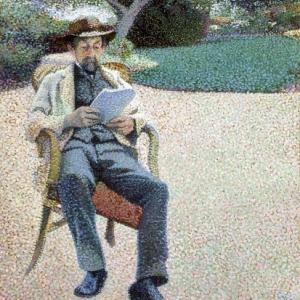 Henry Van de Velde, Portret van Père Biart lezend in de tuin, 1890-91.