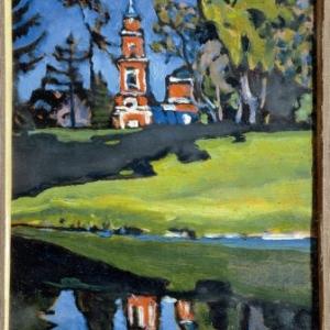 Wassily Kandinsky, Rode kerk, 1901-1903 (Roethel 1917), Olieverf op triplex, 28 x 19,2 cm, copywright Russian Museum, St. Petersburg