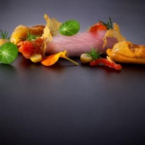 Makreel - kikkererwt - paprika - opgelegde mossel - nastrium