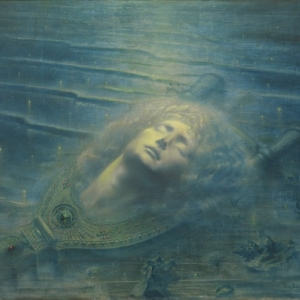 Jean DELVILLE (1867 - 1953) *De dode Orpheus, 1893 Olieverf op doek (herdoekt), 79,3 x 99,2 cm, Brussel, MRBAB
