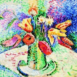 Henri Matisse, Tulipes perroquets (II), ete 1905, Huile sur toile, 46 x 55 cm. OEuvre ayant appartenu a Henri Edmond Cross, Musee de l Albertina, coll. Baltiner, Vienne (Autriche  Succession Matisse / photo : tous droits reserves