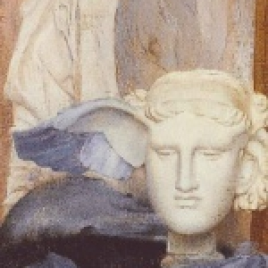Fernand KHNOPFF (1858 - 1921), Een blauwe vleugel, 1894 Olieverf op doek, 88,5 x 28,5 cm, Collectie Gillion Crowet, Depot van M. en Mevr. Gillion Crowet