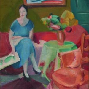 De vrouw in het blauw, 1921, Olie op doek, 165 x 140 cm