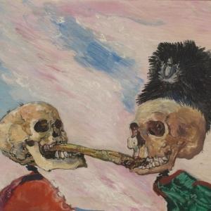 James ENSOR (1860-1949), Skeleton Fighting over a Pickled Herring, 1891, Oil on wood, 16 x 21,5 SABAM Belgium ©