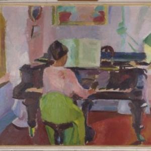 De vrouw aan de piano, (ca. 1915-1917), Olie op doek, 136 x 151 cm