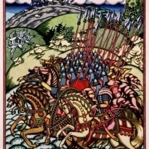 De krijgsbende van Volga en Mikoela, Aquarel op bordpapier, 39 x 31,6 cm