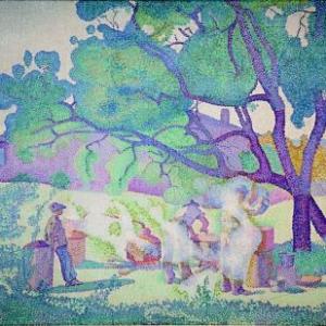 Henri Edmond Cross, La Ferme, matin, 1893, Huile sur toile, 65 x 92 cm, OEuvre ayant appartenu a Henri Matisse, Musee des beaux-arts de Nancy