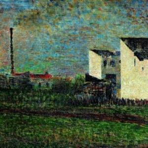 Georges Seurat, Banlieue, 1882-1883, Huile sur toile, 32.2 x 41 cm, Musee d art moderne, Troyes collections nationales Pierre et Denise Levy