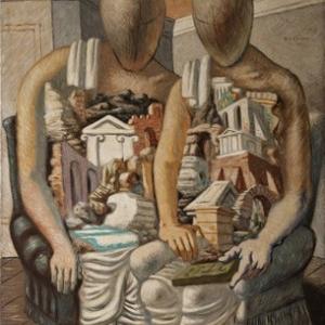 """""""Les Archeologues"""" (Giorgio de Chirico/1927/132,6 x 105,3 cm) (c) """"SABAM Belgium 2019"""""""