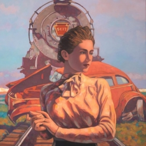 """Incident in Maricopa""/100 x 73 cm (c) Miles Hyman/""Huberty & Breyne Gallery"" 2019"