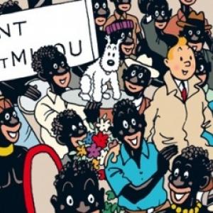 """""""Tintin au Congo"""" : 5eme case de la p. 9 de la version en couleurs (c) Herge-Mounlinsart 2019"""