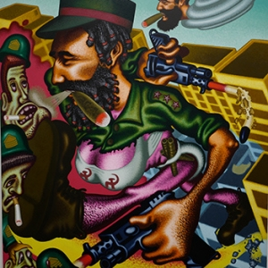 """""""Castro s Mother destroys Miami"""" (1994) (c) Peter Saul/""""Artist s Rights Society"""", New York"""
