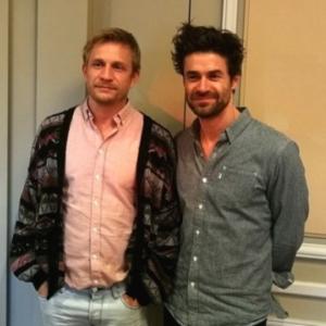 """Yannick Renier, a droite, et son frère Jeremie, a Bordeaux, a la sortie de leur 1er film, """"Carnivores"""""""