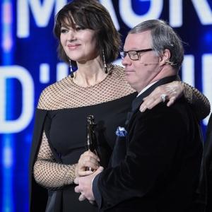 """Monica Belluci, Magritte d honneur, et Pascal Duquenne, President de la 10e Ceremonie des """"Magritte du Cinema"""""""