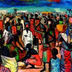 """""""Scene de Marche a Leopoldville"""" (c) Maurice van Essche/""""Galerie Raf Van Severen"""""""