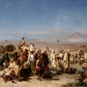 """""""Marche arabe dans la Plaine de Tocria"""" (1877/211 x 342 cm/""""Palais des Beaux-Arts""""/Lille)"""
