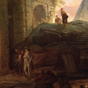"""Les Decouvreurs dantiques""/Hubert Robert/""Musee d Art et d Archeologie"""