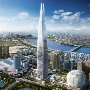 """La """"Lotte Super Tower"""" (123 etages/555 m) domine Seoul"""