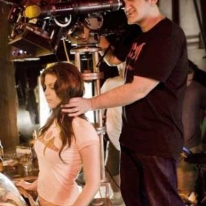 "Quentin Tarantino et l actrice Vanessa Ferlito (tournage de ""Grindhouse"") (c) D.R."