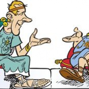 Albert Uderzo (a gauche) et Rene Goscinny (a droite), en senateurs romains (c) www.asterix.com