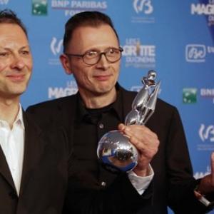 """De gauche a droite, Stephane Aubier et Vincent Patar, Presidents des 9emes """"Magritte du Cinema"""""""