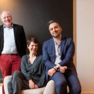 """Herve Gerard, le President, Marie Noble et Gregory Laurent, la future et l actuel Commissaire general de la (c) """"Foire du Livre"""""""
