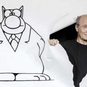 """""""Le Chat"""" et son auteur (c) Philippe Geluck"""