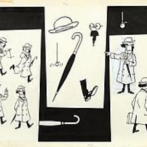 """Croquis du """"Professeur Tournesol"""" (1968) (c) """"Herge-Moulinsart 2017"""""""