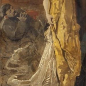 """""""Dans l Atelier, la Pose du Modele"""", 1885, 137,5 x 61,5 (c) L. Ghemar/""""Musee des Beaux-Arts"""", a Lille"""