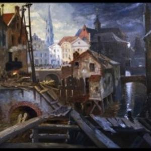 """Triptyque satirique sur l """"Assainissement de la Senne"""", s.d., 80 x 160 cm (c) L. Ghemar/""""Maison du Roi"""""""