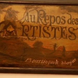 """Sur l une des portes du """"Repos des Artistes"""", le nom de l aubergiste : Boussingault"""