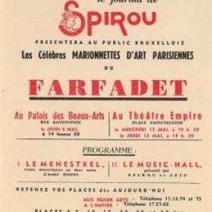 """Affiche du """"Farfadet"""", avec les marionnettes de """"Spirou"""""""