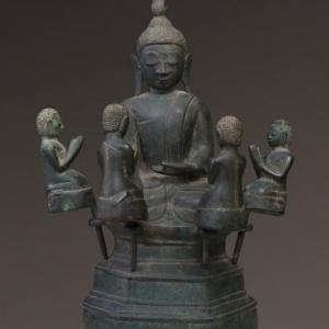 """""""Bouddha et ses 4 disciples""""/ancienne Birmanie (c) """"Famarte Asian Art"""""""