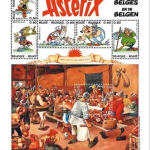 """Feuillet postal belge reprenant le """"Repas de Noce"""", tel que vu par (c) Albert Uderzo/""""B Post"""""""