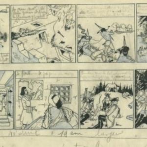 """L Eau de Feu"", sa 1ere BD, signee ""Wapiti"" (c) Rene Follet/Revue ""Plein-Jeu"", 1946"