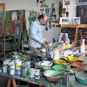 Jean-Pierre Ransonnet dans son Atelier (c) Patricia Mathieu.